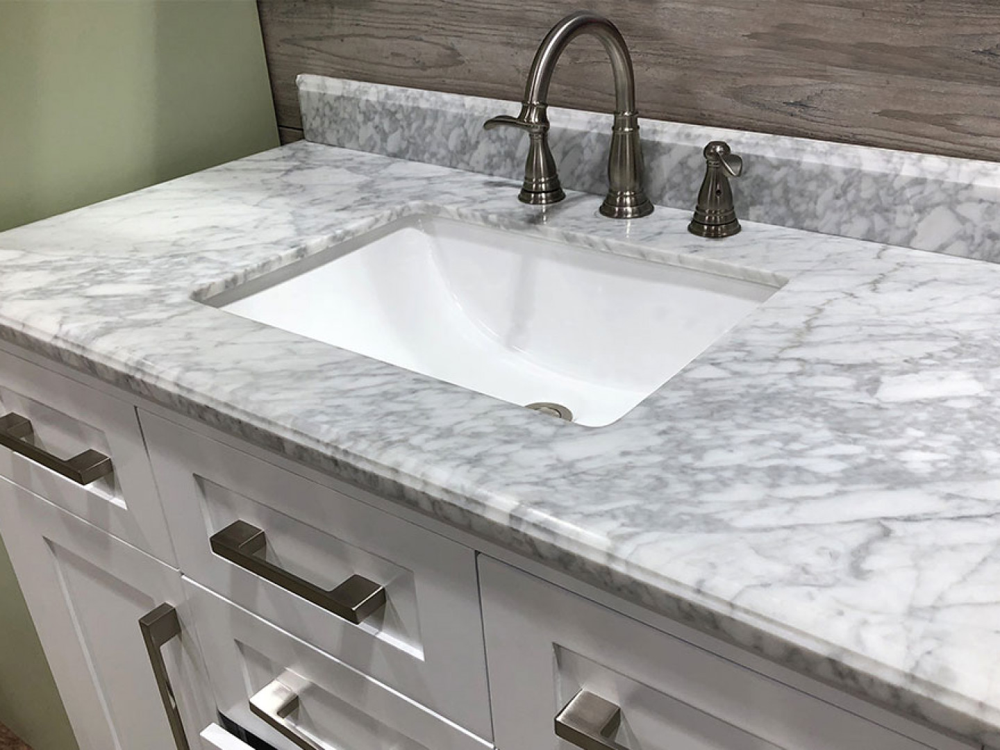 remodeled bathroom with marble